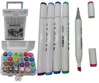 Набір скетч маркерів двухстор.скош / круглий 24 кол. пластик. контейн. з ручкою