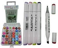 Набір скетч маркерів двухстор.скош / круглий 36 кол. пластик. контейн. з ручкою