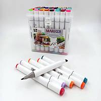 Набір скетч маркерів двухстор.скош / круглий 48 кол. пластик. контейн. з ручкою