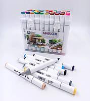 Набір скетч маркерів двухстор.скош / круглий 60 кол. пластик. контейн. з ручкою