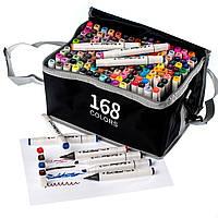 Набір скетч маркерів двосторонні 168 кол у сумці