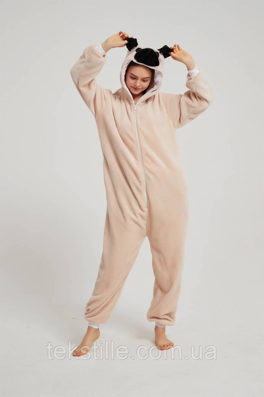 Пижама махровая кигуруми Мопс