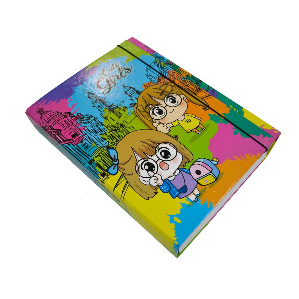 Папка-короб на резинке, А4, 60 мм, полноцветная, PP-покрытие, Cute
