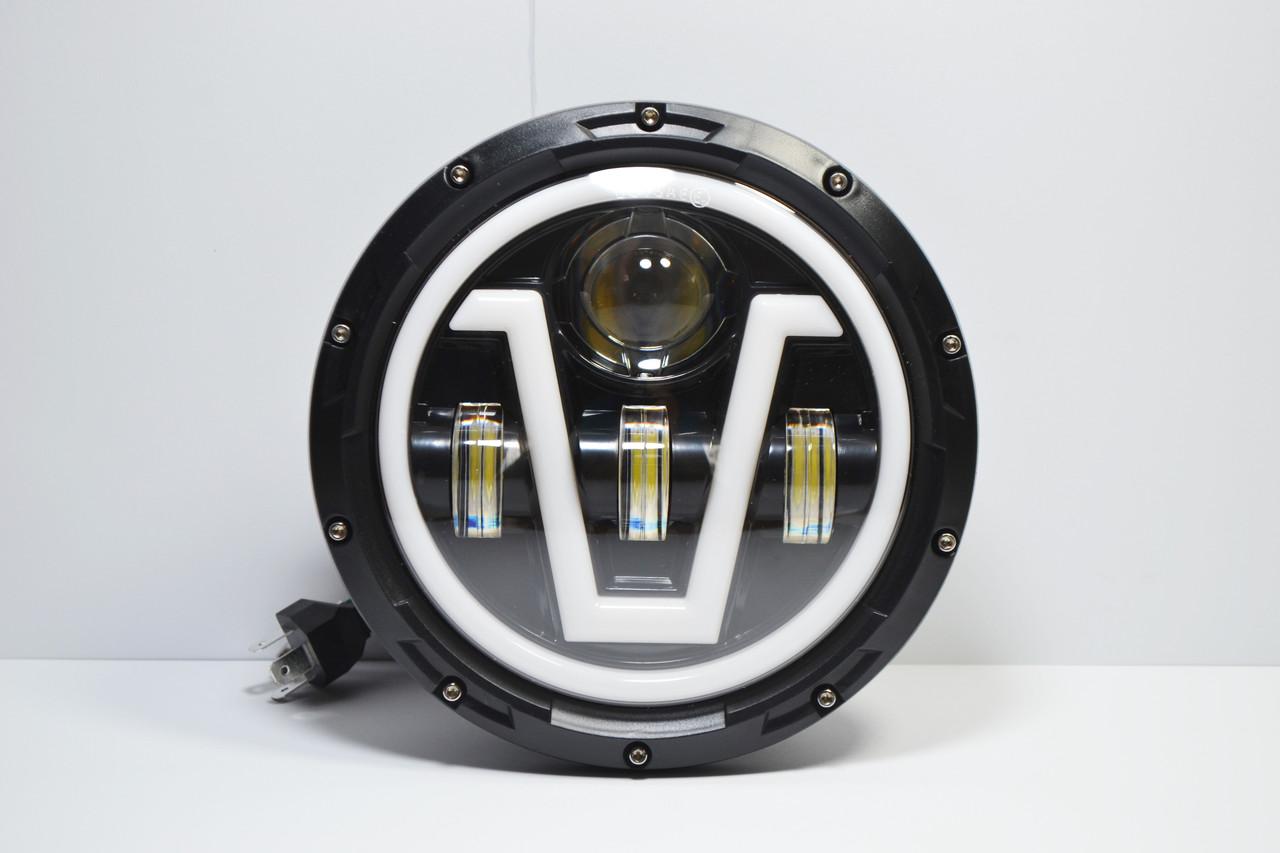 Світлодіодна LED фара 75Вт Нива, УАЗ 469, ВАЗ 2101, 2121, FJ Cruiser, мотоцикл, мото 7 дюйм (Універсальна)