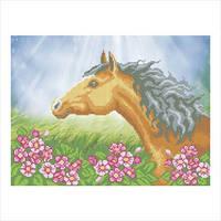 """Схема для вышивки бисером """"Конь в цветах"""""""