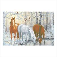 """Схема для вышивки бисером """"Лошади зимой"""""""