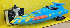 Катер детский на радиоуправлении пульте управления синий Speed King 25см