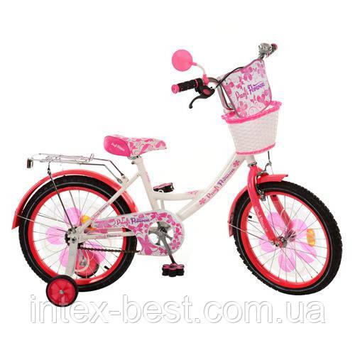 Детский двухколесный велосипед 18 дюймов (арт.PW1852G) Flower бело-малиновый