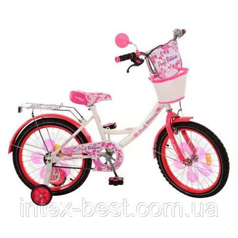 Детский двухколесный велосипед 18 дюймов (арт.PW1852G) Flower бело-малиновый, фото 2