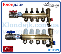 Коллектор теплого пола для низкотемпературных систем на 9 контуров