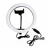 Кольцевая светодиодная лампа RING FILL LIGHT диаметром 26 см с держателем телефона, питание от usb без штатива, фото 5