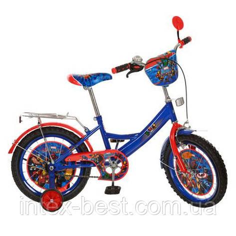 Детский двухколесный велосипед,16 дюймов (арт MH162) Герои, сине-красный, фото 2