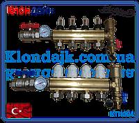 Коллектор теплого пола для низкотемпературных систем на 4 контура