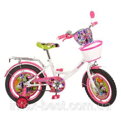 Детский двухколесный велосипед,16 дюймов (арт MI166B) Минни Маус, бело-розовый, фото 2