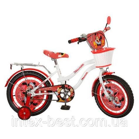 Детский двухколесный велосипед,16 дюймов (арт MI167) Минни Маус, бело-красный, фото 2
