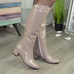 Сапоги женские кожаные на устойчивом каблуке. Цвет визон