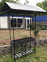 Мангал на 9 шампуров с крышей, сталь 4 мм