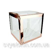 Коробка для декора прозрачная розовое золото 25*25см