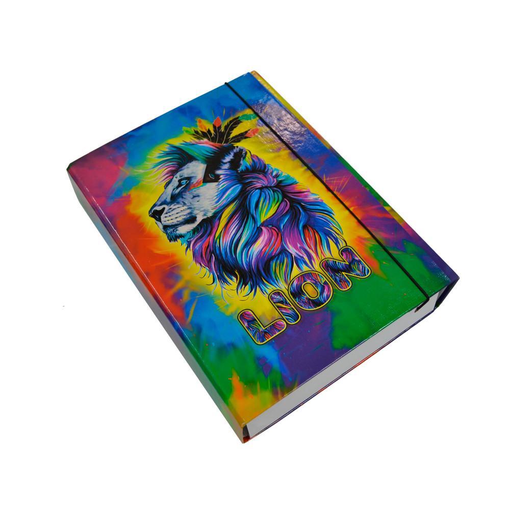 Папка-короб на резинці, А4, 60 мм, повнокольорова, PP-покриття, Lion