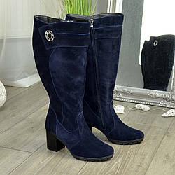 Женские синие замшевые сапоги на устойчивом каблуке