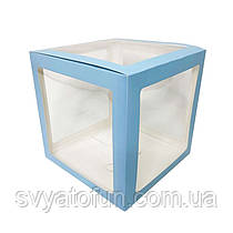 Коробка для декора прозрачная голубая 25*25см