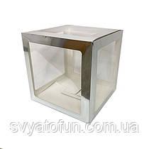 Коробка для декора прозрачная серебро 25*25см