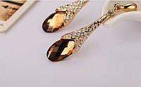 Зара II позолоченные серьги с кристаллами Сваровски золото 750 проба