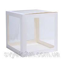 Коробка для декора прозрачная белая 25*25см