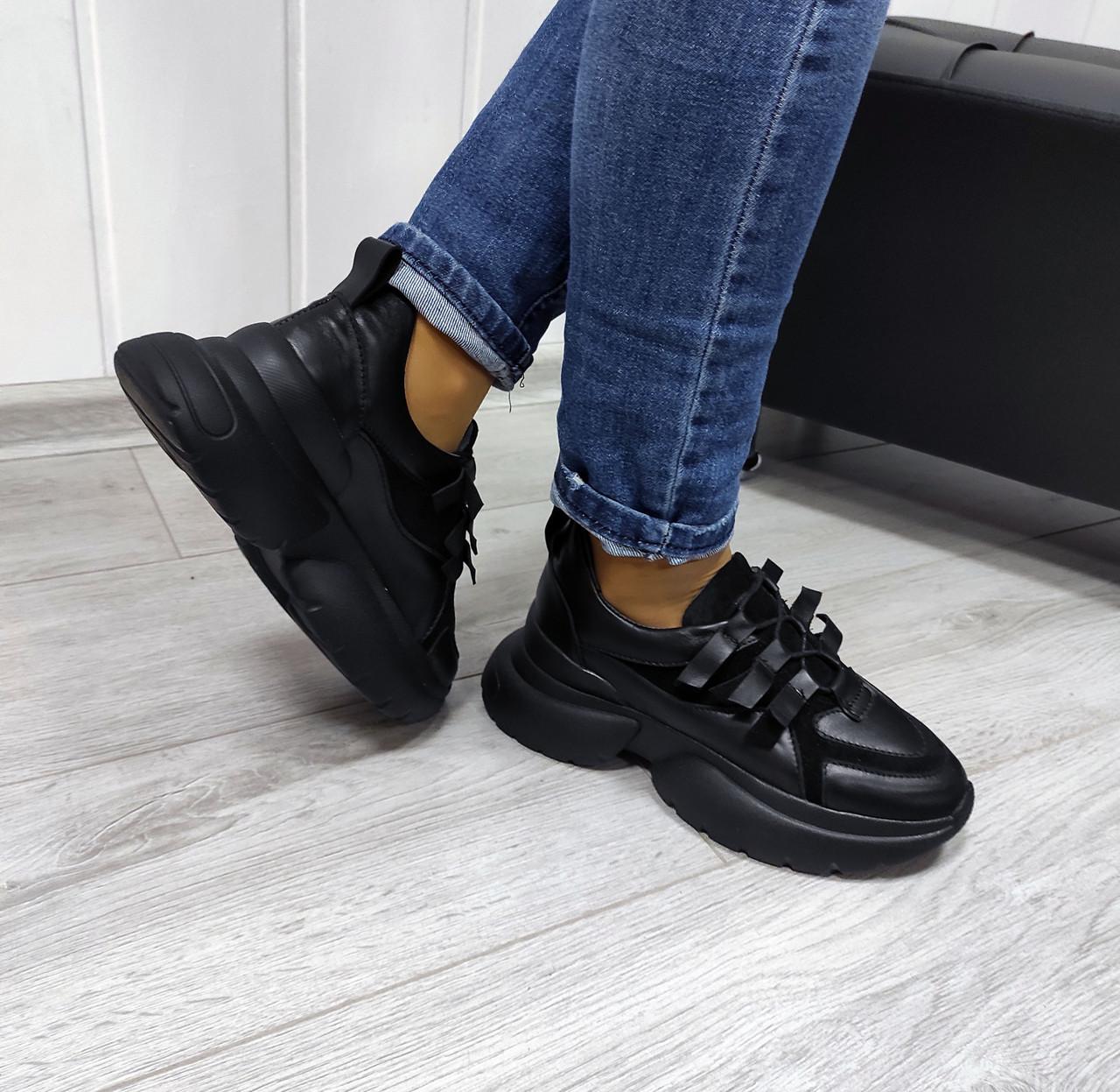 Стильные повседневные кроссовки черного цвета