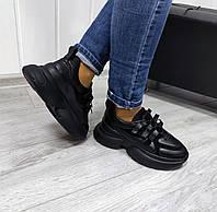 Стильные повседневные кроссовки черного цвета, фото 1