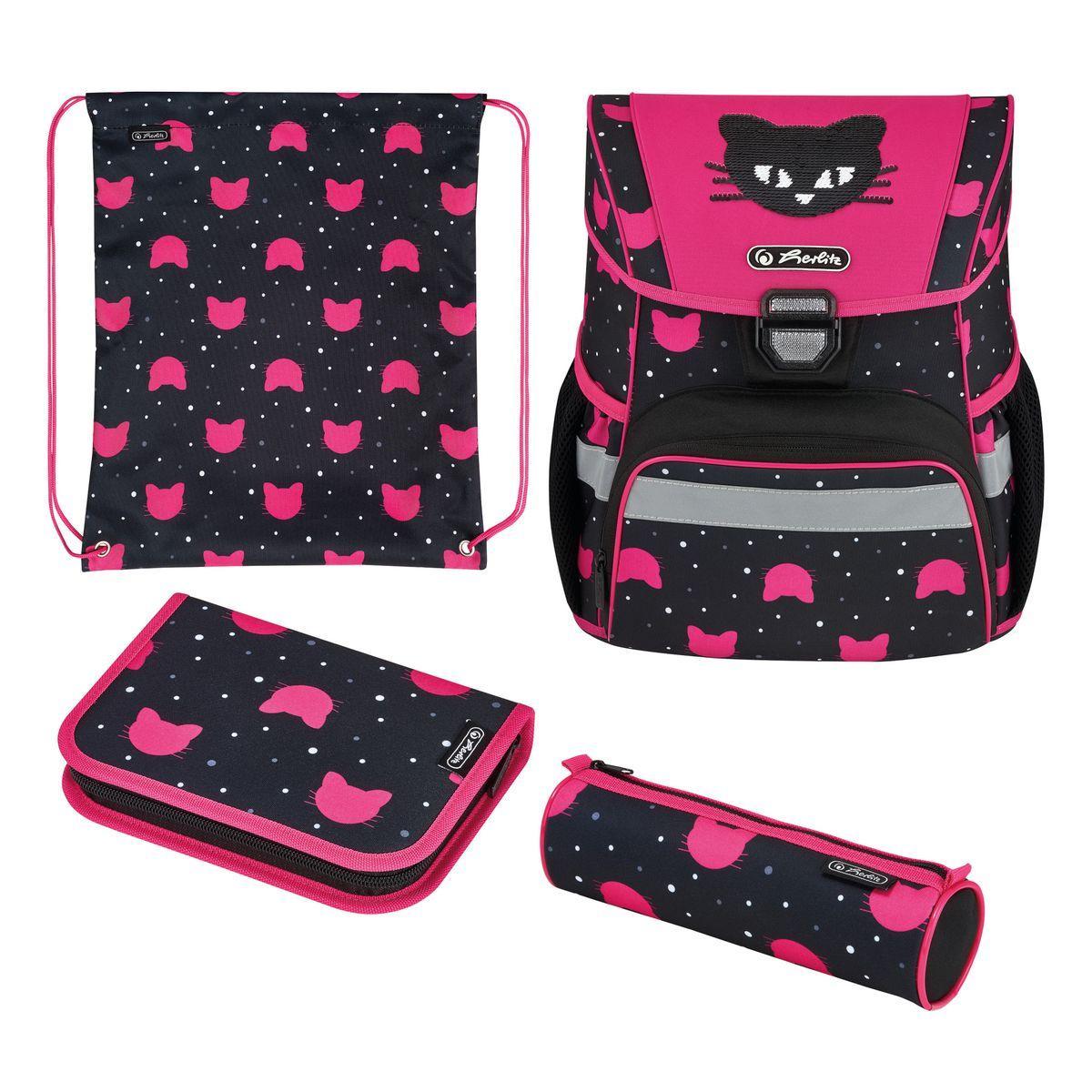 Ранець шкільний укомплектувань Herlitz LOOP PLUS Black Cat Чорний Кіт(50032440)