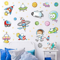 Декоративная виниловая наклейка на стену в детскую комнату Космонавты. Космос. Планеты XL7239