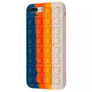 Чехол попит антистресс pop it для телефона iPhone 7 Plus / 8 Plus кейс с пупыркой TPU темно синий
