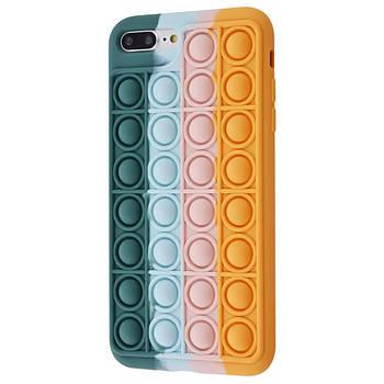 Чехол попит антистресс pop it для телефона iPhone 7 Plus / 8 Plus кейс с пупыркой TPU зелёный