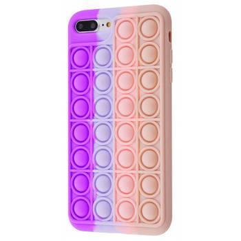 Чехол попит антистресс pop it для телефона iPhone 7 Plus / 8 Plus кейс с пупыркой TPU фиолетовый