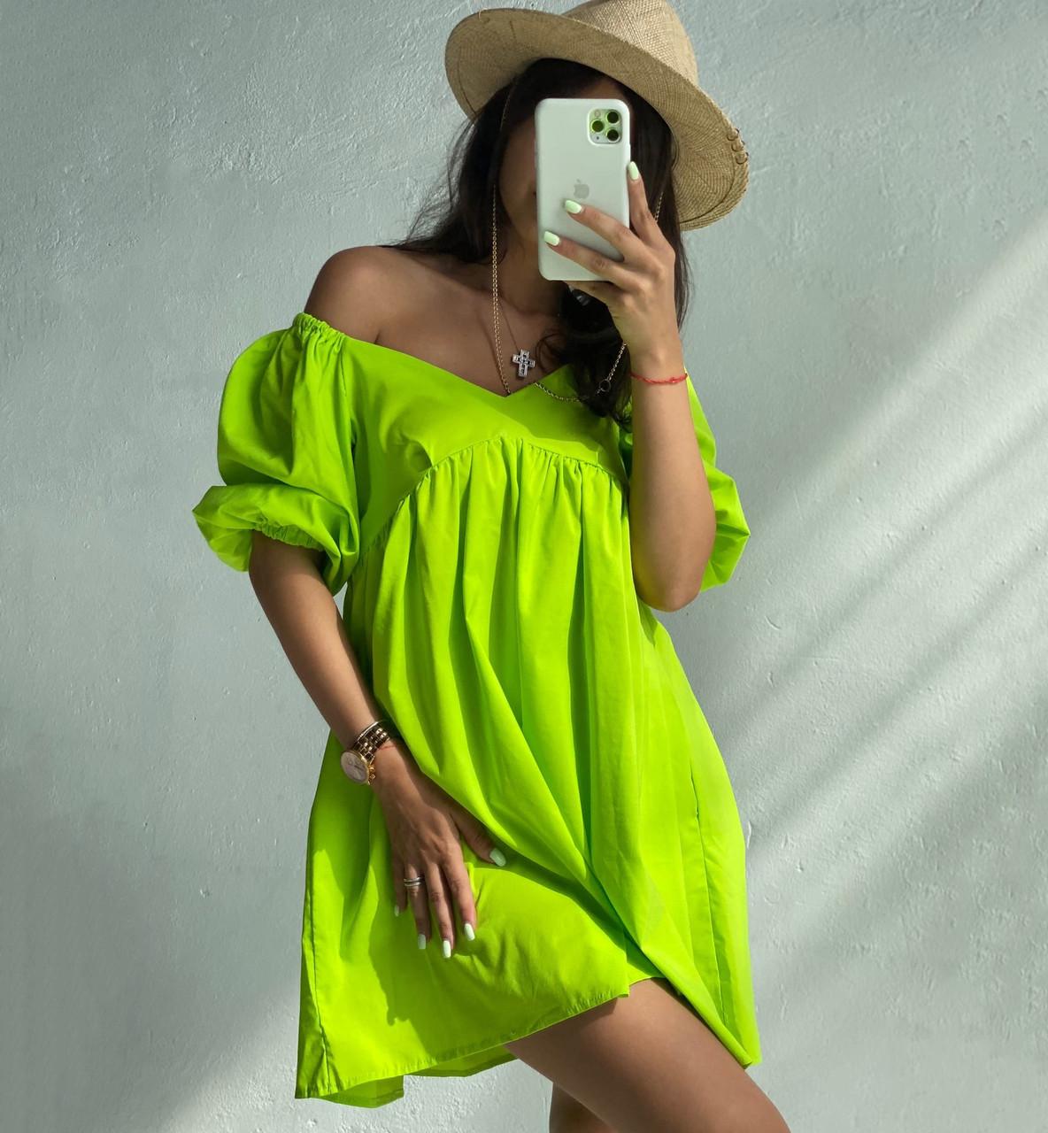 Стильное женское платье свободного кроя с пышными рукавами