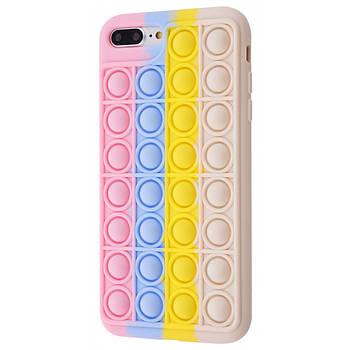 Чехол попит антистресс pop it для телефона iPhone 7 Plus / 8 Plus кейс с пупыркой TPU розовый