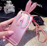 Розовый силиконовый зайчик складный уши со стразами для iPhone 6