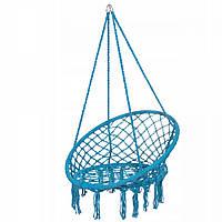 Підвісне крісло-гойдалка блакитне синє для дачі Крісло гамак підвісне плетене без подушки Springos SPR0025