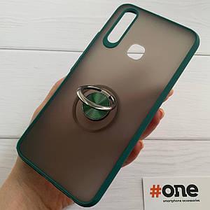 Чехол для Vivo Y11 с кольцом подставкой противоударный бронь чохол на виво у11 зеленый BTT