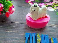 Молд силиконовый собачка болонка 3 Д разм фигурки выс 4 см длина 5 см