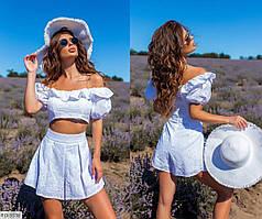 Прогулочный костюм женский молодежный красивый футболка-топ с юбкой-шорты р-ры S, M, L арт. 6-732