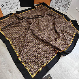 Платок шелковый МК коричневый с ручной подшивкой