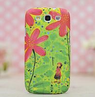 3D с цветами чехол для Samsung Galaxy S3 + пленка в подарок