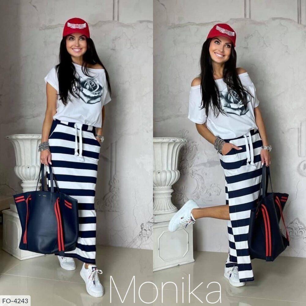 Костюм женский летний длинная прямая юбка в пол с футболкой р-ры 42-48 арт. 9080