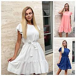 Р 44-50 Літній лляне плаття з рюшами вільного крою 24145