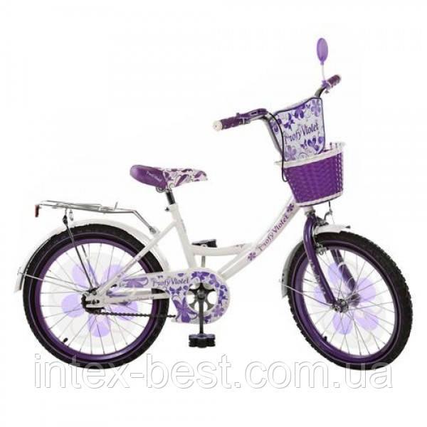 Детский двухколесный велосипед 18д(арт. PV1855G ) Violet бело-фиолетовый