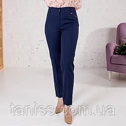 """Жіночі укорочені брюки """"Пекла"""",тканькостюмная , р-р 44\46, 48\50, 52\54, 56\58 , синій"""