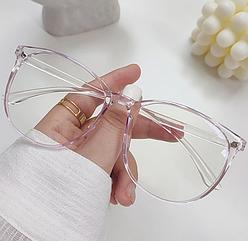 Компьютерные очки женские, защита глаз от монитора. Цвет розовый + чехол