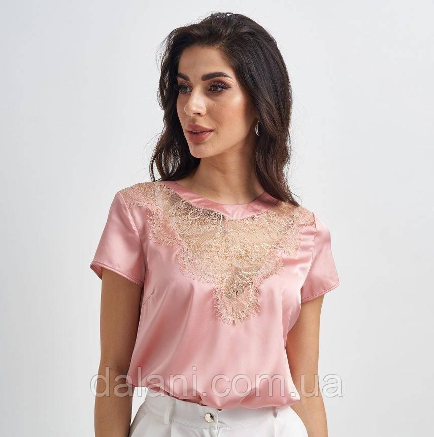 Женская розовая блуза из шелка с кружевом